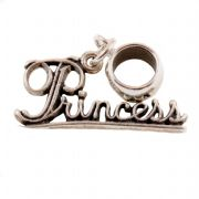 Princess Sterling Silver Dangle Charm / Carrier Bead